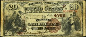 Picture of Twenty Dollar 1882 Brown Back Territorial National Bank Note