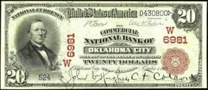 Picture of Twenty Dollar 1902 Red Seal Territorial National Bank Note