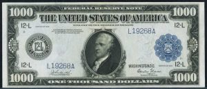 Picture of $1000 1918 Federal Reserve Note Value