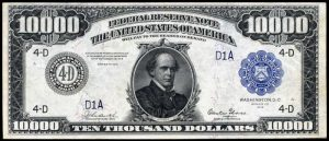 Picture of $10,000 1918 Federal Reserve Note Value