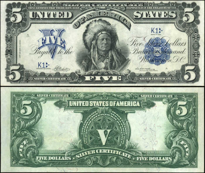 Picture of 1899 $5 Silver Certificate Front and Back