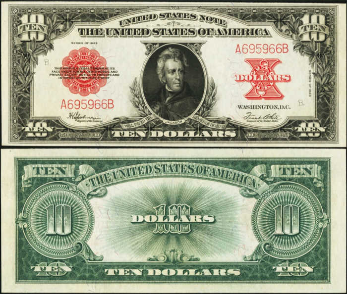 Picture of 1923 $10 Legal Tender Front and Back