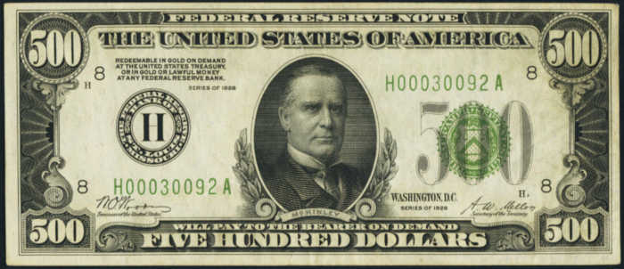 Picture of 1928 $500 Dark Green Seal Federal Reserve Note