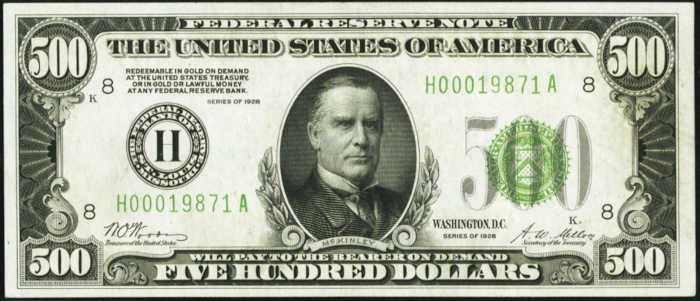 Picture of 1928 $500 Federal Reserve Note About Uncirculated