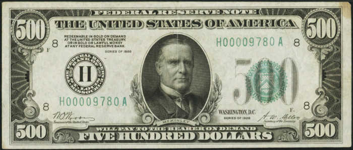 Picture of 1928 $500 Federal Reserve Note Extremely Fine