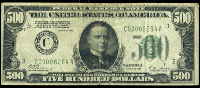 Picture of 1928 $500 Federal Reserve Note Fine
