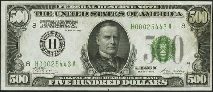 Picture of 1928 $500 Federal Reserve Note Uncirculated Poor Margins