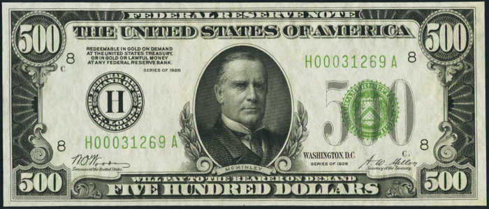 Picture of 1928 $500 Federal Reserve Note Uncirculated