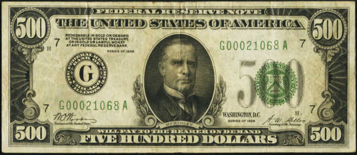 Picture of 1928 $500 Federal Reserve Note Very Fine