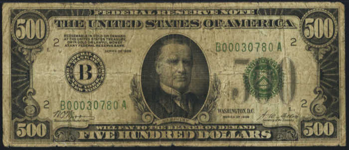 Picture of 1928 $500 Federal Reserve Note Very Good