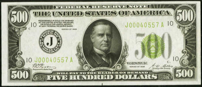 Picture of old $500 dollar bill with William McKinley's face on it from 1928