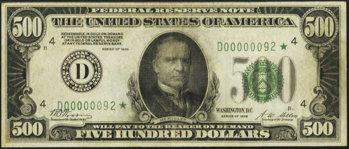Picture of 1928 $500 Star Federal Reserve Note