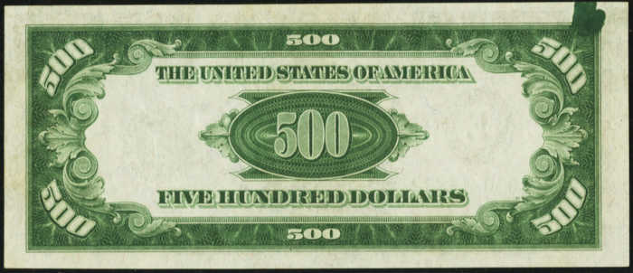 Back Picture of 1934 $500 Error Note Federal Reserve Note
