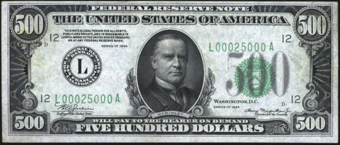 Picture of 1934 $500 Fancy Serial Number Federal Reserve Note