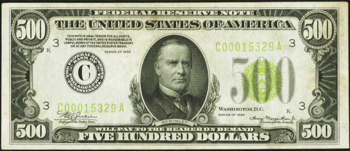 Picture of 1934 $500 Federal Reserve Note