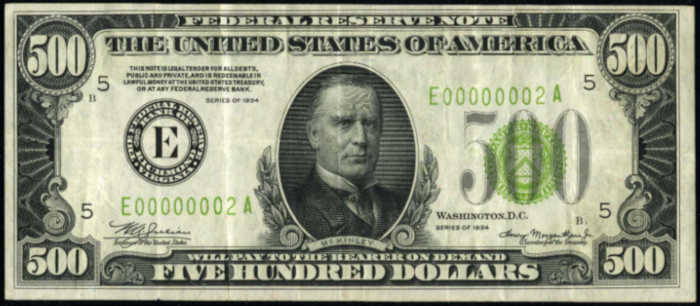 Picture of 1934 $500 Serial Number 2 Federal Reserve Note