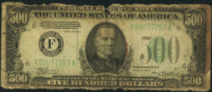 Picture of 1934A $500 Federal Reserve Note Good