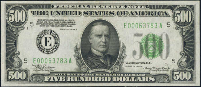 Picture of 1934A $500 Federal Reserve Note