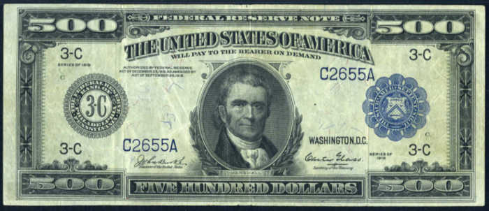 Picture of $500 1918 Federal Reserve Note Value