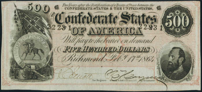 Picture of $500 Confederate Currency Bill from 1864