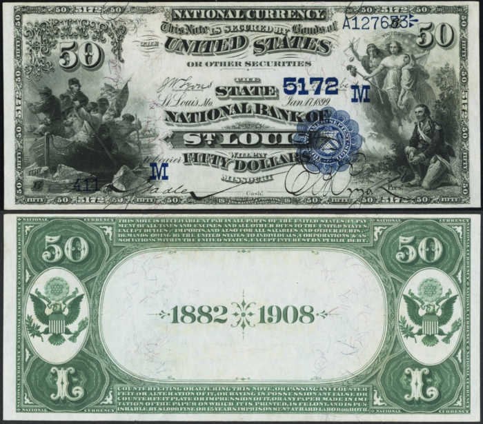 Picture of Fifty Dollar 1882 Blue Seal Date Back National Bank Note