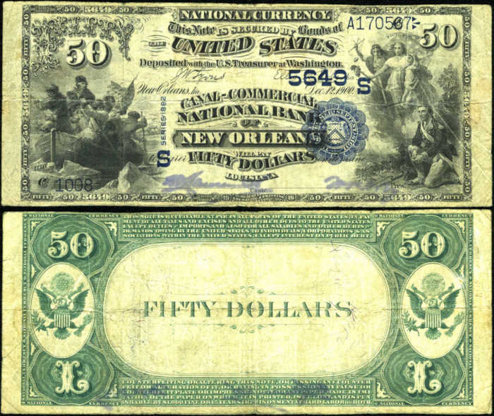 Picture of Fifty Dollar 1882 Blue Seal Value Back National Bank Note