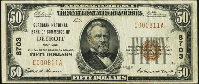Picture of Fifty Dollar 1929 Small Size National Bank Note Value