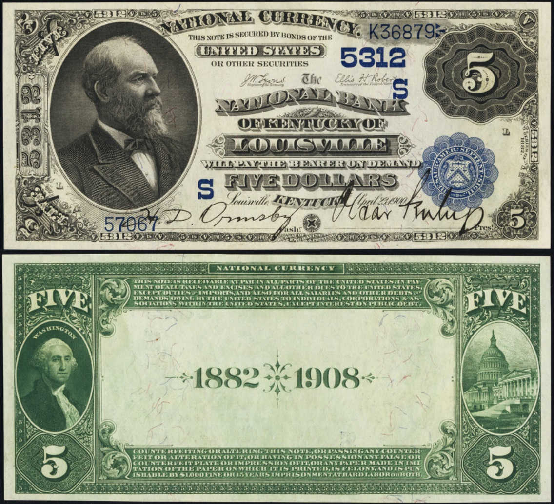 Picture of Five Dollar 1882 Blue Seal Date Back National Bank Note