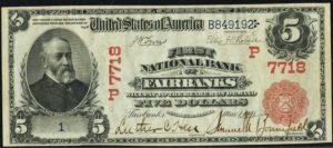 Picture of Five Dollar 1902 Red Seal Territorial National Bank Note