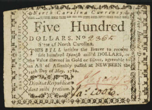 Picture of North Carolina Colonial 500 Dollar Bill Currency May 10 1780