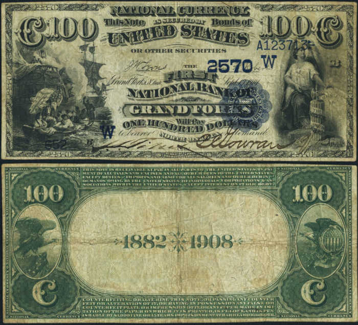 Picture of One Hundred Dollar 1882 Blue Seal Date Back National Bank Note