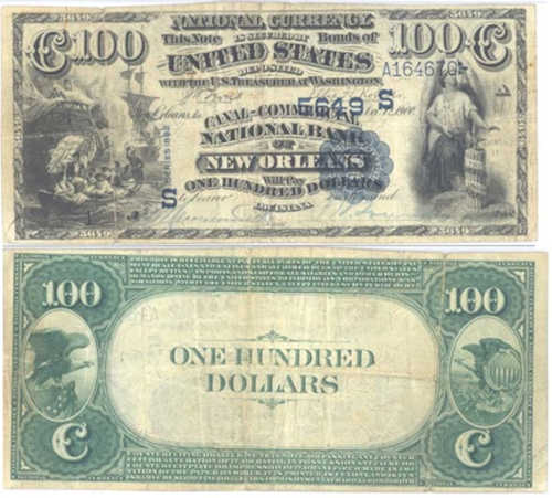 Picture of One Hundred Dollar 1882 Blue Seal Value Back National Bank Note
