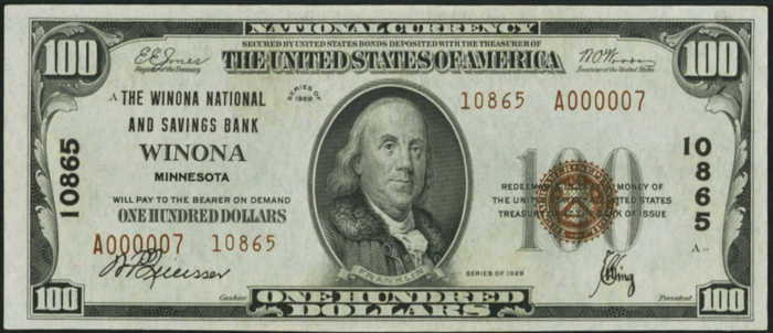 Picture of One Hundred Dollar 1929 Type 2 Small Size National Bank Note