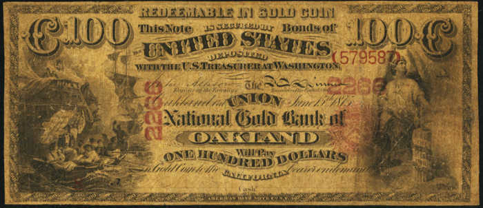 Picture of One Hundred Dollar Gold National Bank Note