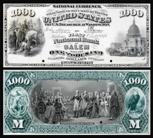 Picture of One Thousand Dollar First Charter National Bank Note