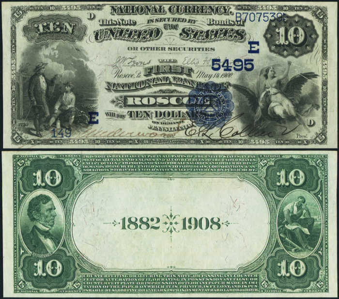 Picture of Ten Dollar 1882 Blue Seal Date Back National Bank Note