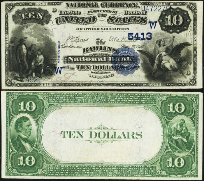 Picture of Ten Dollar 1882 Blue Seal Value Back National Bank Note