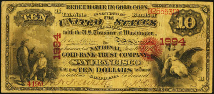 Picture of Ten Dollar Gold National Bank Note