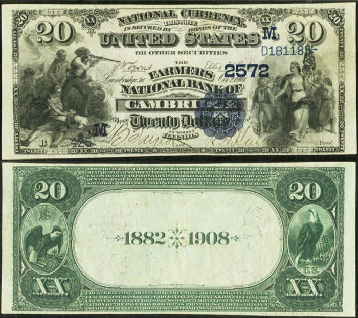 Picture of Twenty Dollar 1882 Blue Seal Date Back National Bank Note