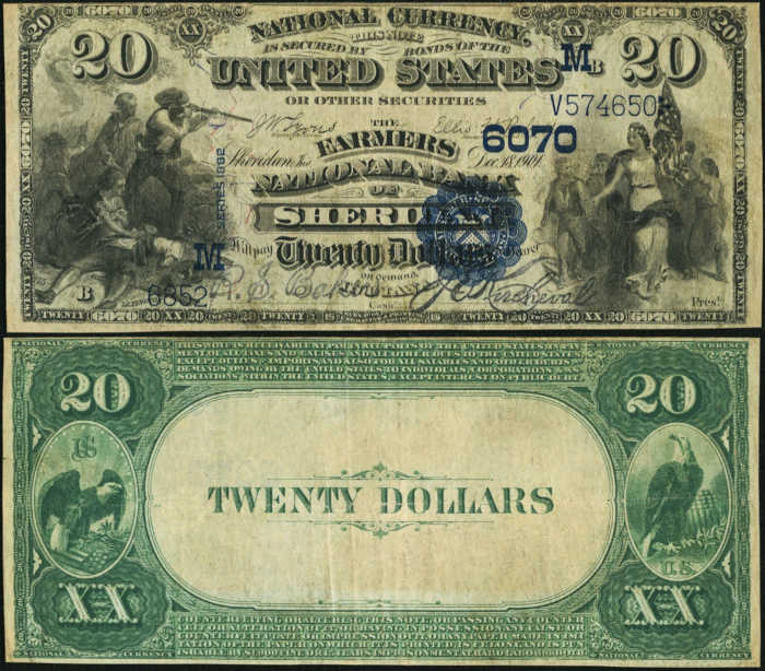 Picture of Twenty Dollar 1882 Blue Seal Value Back National Bank Note