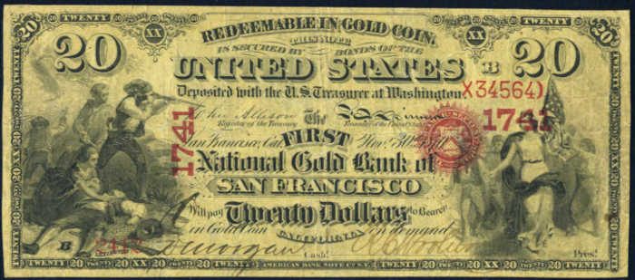 Picture of Twenty Dollar Gold National Bank Note