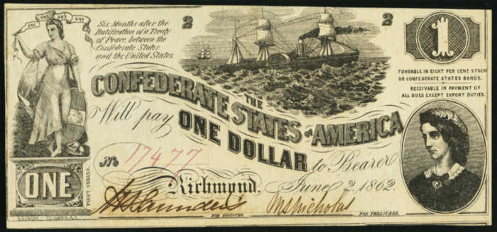 Picture of $1 1862 Confederate States of America Note