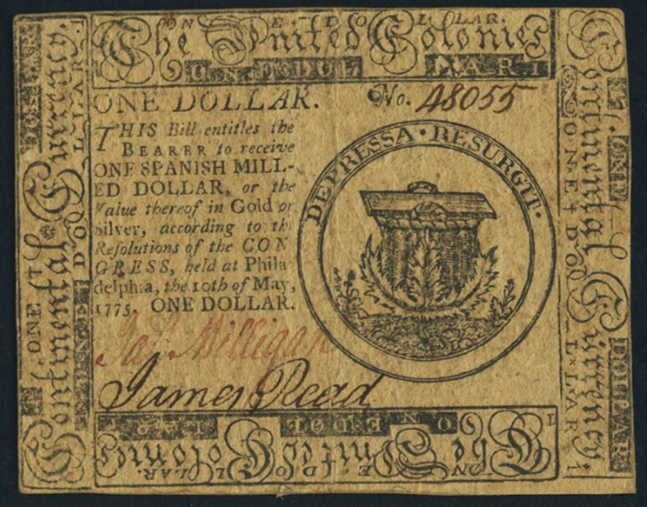 Picture of $1 May 10, 1775 Continental Currency Colonial Note