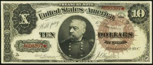 Picture of 1890 $10 Treasury Note