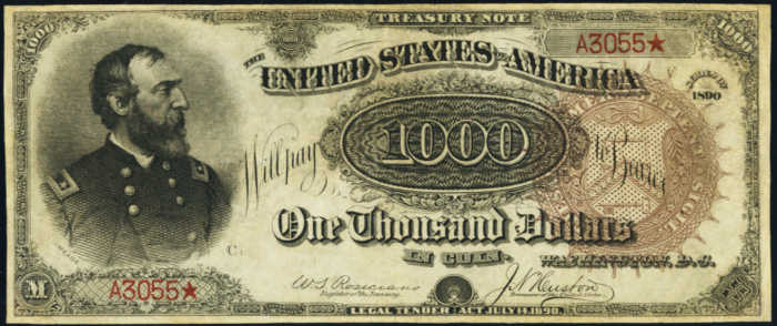 Picture of 1890 $1000 Treasury Note