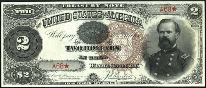 Picture of 1890 $2 Treasury Note