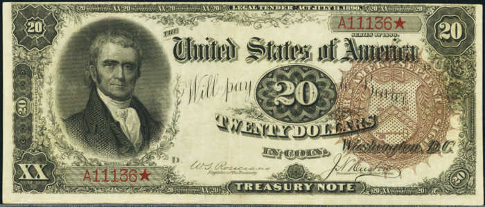 Picture of 1890 $20 Treasury Note