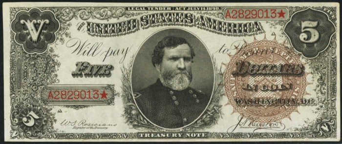 Picture of 1890 $5 Treasury Note