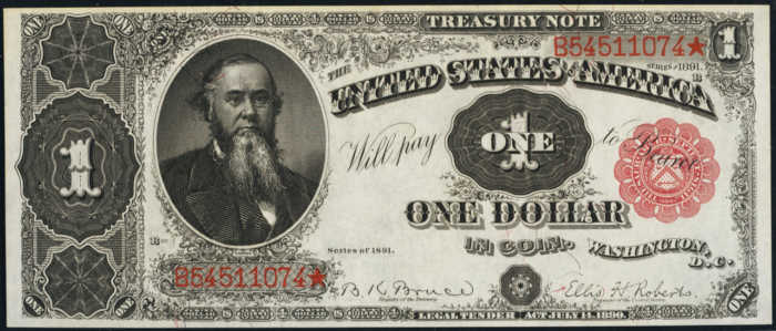Picture of 1891 $1 Treasury Note
