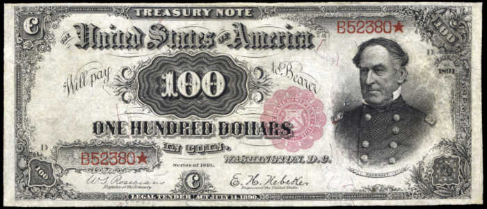 Picture of 1891 $100 Treasury Note